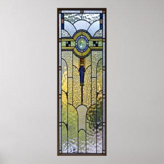 affiche | de fenêtre en verre teinté d'art déco de