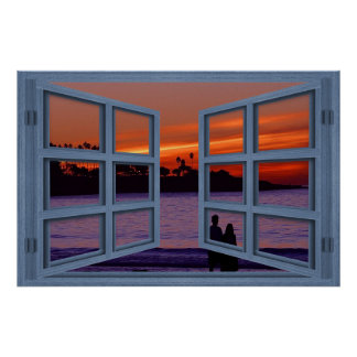 Affiche de fenêtre ouverte de carreau du bleu 6 de posters