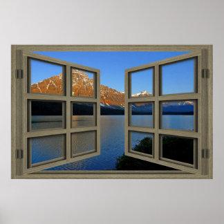 Affiche de fenêtre ouverte de carreau du parc posters