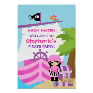 Affiche de fête d anniversaire de fille de bateau