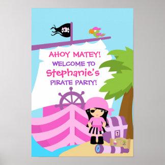Affiche de fête d'anniversaire de fille de bateau