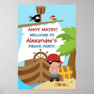 Affiche de fête d'anniversaire de garçon de bateau posters