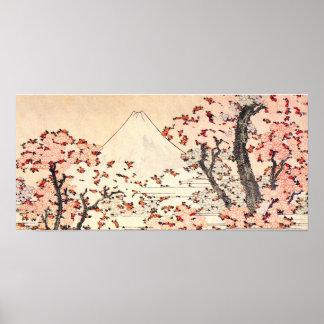 Affiche de fleurs de cerisier de Hokusai le mont F