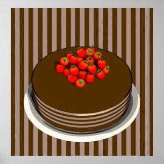 AFFICHE de gâteau et de fraises de chocolat Posters