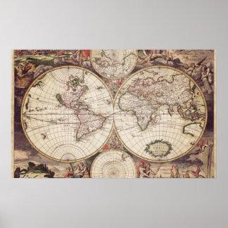 Affiche de géographie de carte du monde posters