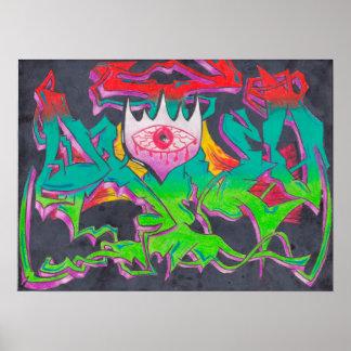 Affiche de graffiti d'oeil mauvais posters
