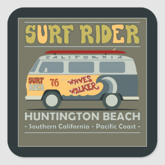 Affiche de Huntington Beach de cavalier de surf Sticker Carré