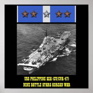 AFFICHE DE LA MER PHILIPPINE D'USS (CV/CVA-47)