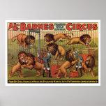 Affiche de la publicité de cirque de Barnes des an
