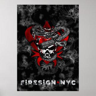Affiche de lis du crâne w/Shadow de dragon Poster