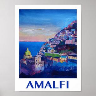 Affiche de l'Italie de côte d'Amalfi rétro