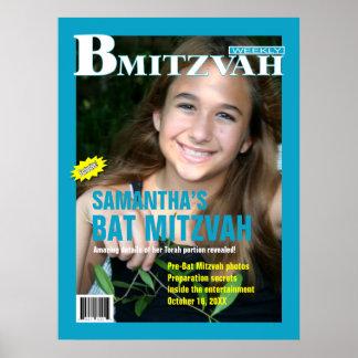 Affiche de magazine de B Mitzvah en turquoise