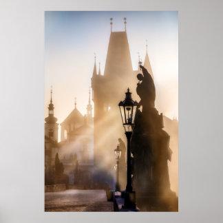 Affiche de matin de pont de Prague - de Charles Poster