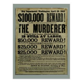 Affiche de meurtre de John Wilkes Booth Lincoln Carte Postale