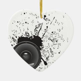 Affiche de musique avec le haut-parleur audio 2 ornement cœur en céramique