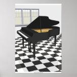 Affiche de musique : Piano à queue et tuiles : mod