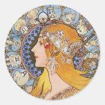 Affiche de Nouveau d'art de Mucha - zodiaque - plu Adhésif Rond