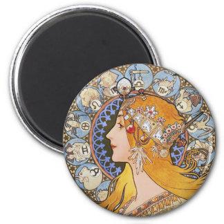 Affiche de Nouveau d'art de Mucha - zodiaque - plu Magnet Rond 8 Cm