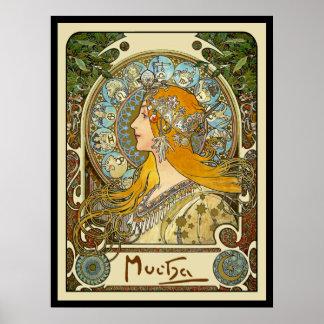 Affiche de Nouveau d'art de Mucha - zodiaque - Posters