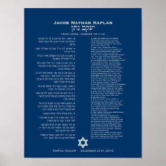 Affiche de partie de Torah d'étoile de David de bl