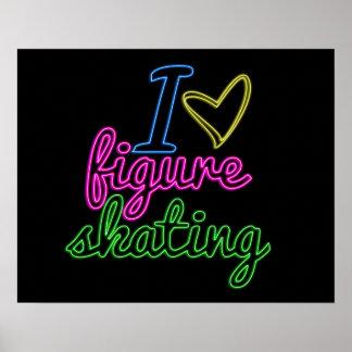 Affiche de patinage artistique d'amour du néon I