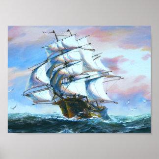Affiche de peinture de bateau de voile