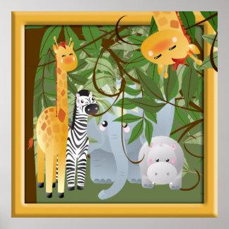 Affiche de pièce d'enfants d'animaux de safari de