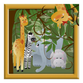 Affiche de pièce d'enfants d'animaux de safari de posters