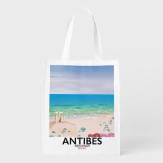 Affiche de plage d'Antibes France Cabas Épicerie