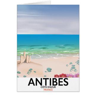 Affiche de plage d'Antibes France Carte De Vœux