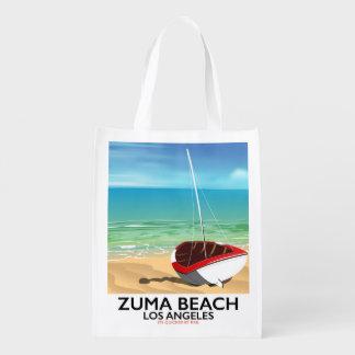 Affiche de plage de rail de LA de plage de Zuma Sac Réutilisable D'épcierie