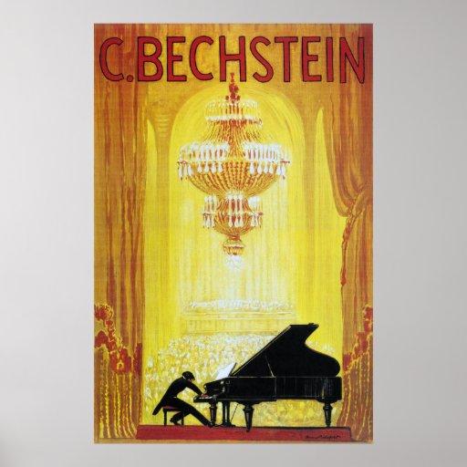 Affiche de publicité de piano de C. Bechstein Vint