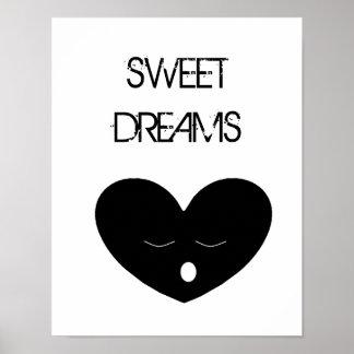 Affiche de rêves doux de coeur de sommeil posters