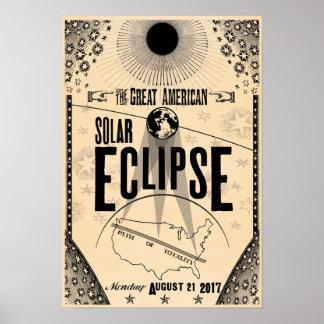 Affiche de Showprint-Style de 2017 éclipses Poster