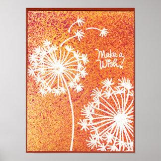 Affiche de souhait de fleurs de pissenlit