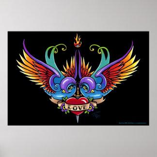 Affiche de tatouage de coeur d'hirondelle d'arc-en
