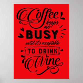 Affiche de temps de café et de vin poster