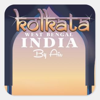 Affiche de vacances de Kolkata - de Sticker Carré