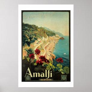 Affiche de Vintage voyage d'Amalfi Italie