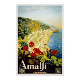 """Affiche de Vintage voyage de """"Amalfi"""""""