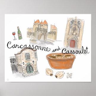 Affiche de voyage : Cassoulet à Carcassonne