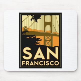 Affiche de voyage d art déco de San Francisco Tapis De Souris
