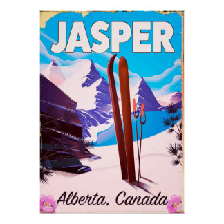 Affiche de voyage d'Alberta Canada de jaspe Poster