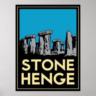 Affiche de voyage d'art déco de Stonehenge