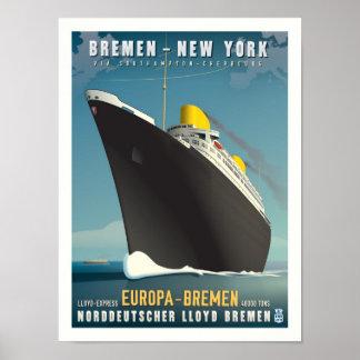 Affiche de voyage d'art déco d'Europa de solides s
