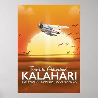 Affiche de voyage d'aventure de désert de Kalahari Poster