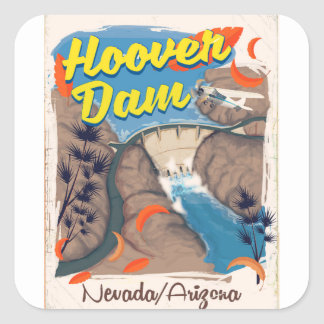 Affiche de voyage de barrage Nevada/de Arizona de Sticker Carré
