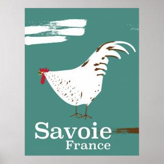 Affiche de voyage de jeune coq de la Savoie France Posters