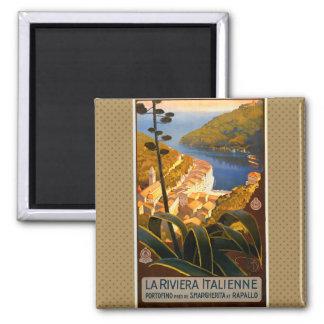 Affiche de voyage de la Riviera l'Europe Italie Magnet Carré