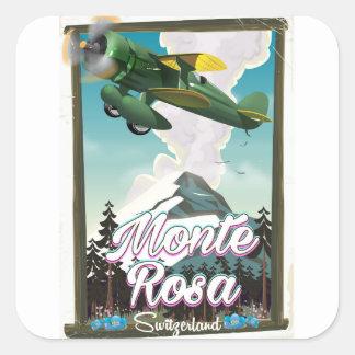 Affiche de voyage de la Suisse Monta Rosa Sticker Carré